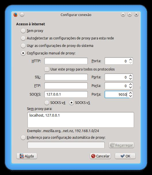 Configuração do Proxy Firefox