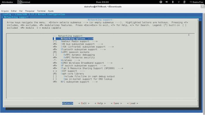Tela inicial menuconfig kernel