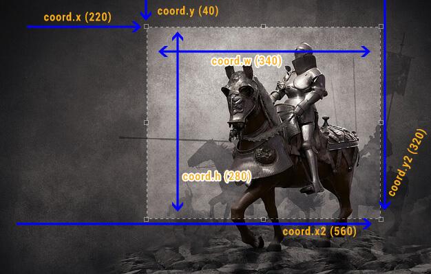 Dimensões da janela de seleção criada pelo Jcrop