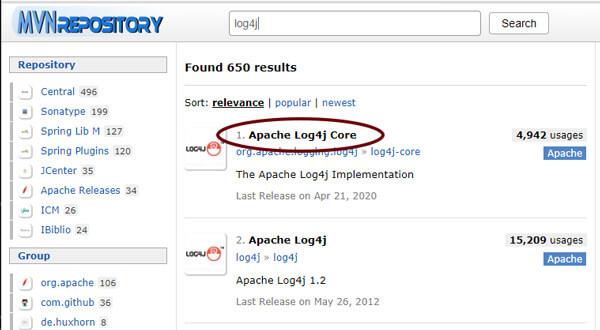 Busca pela biblioteca log4j