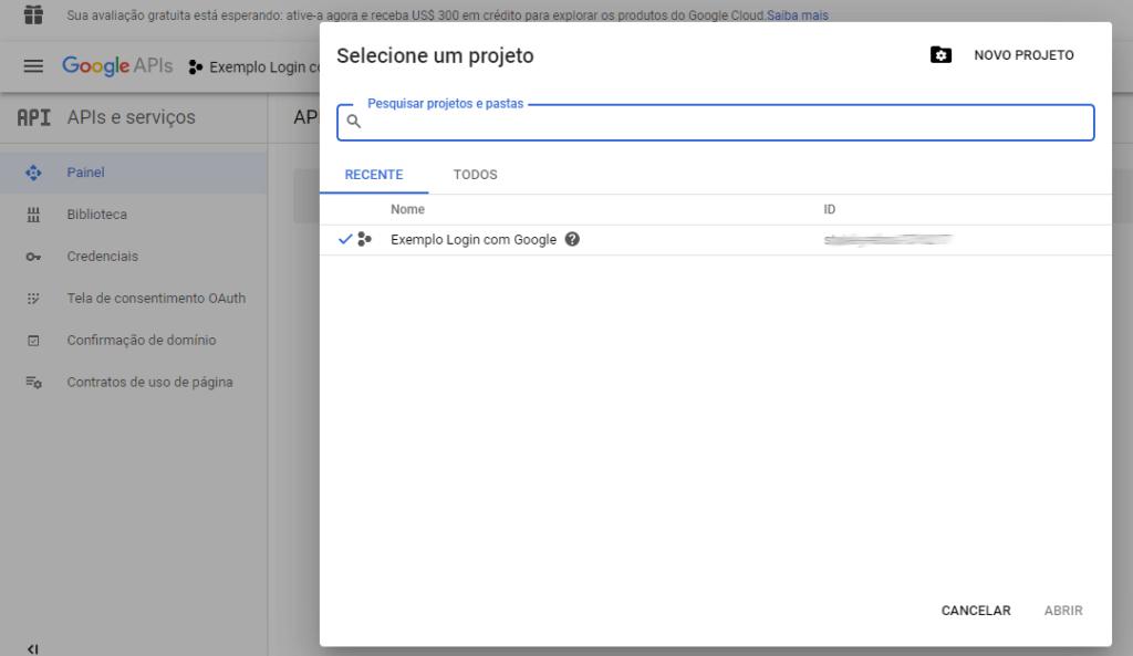 Tela de criação de projeto para Login Social via Google