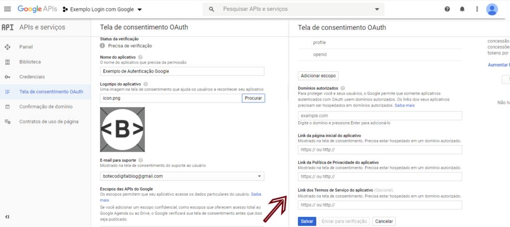 Configuração de tela de consentimento OAuth do Google