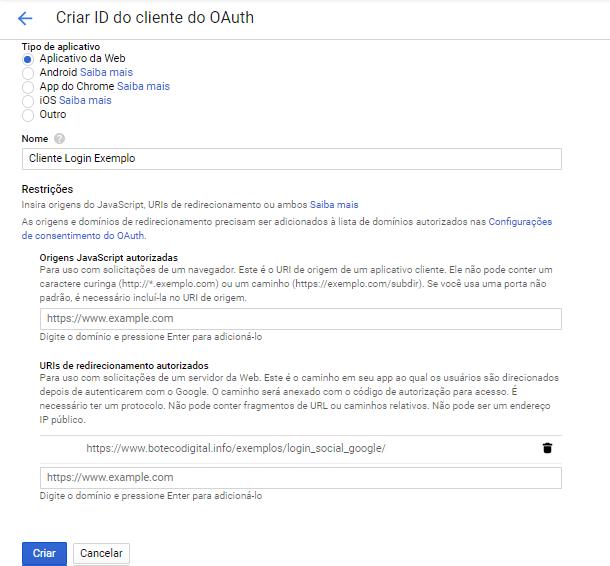 Tela para criar o id do OAuth do Google