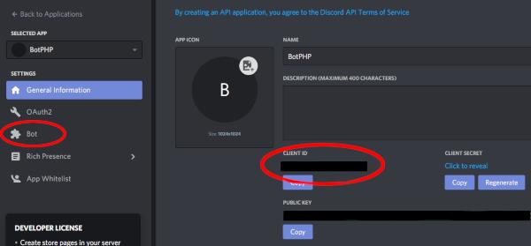 Tela de criação do app do Discord